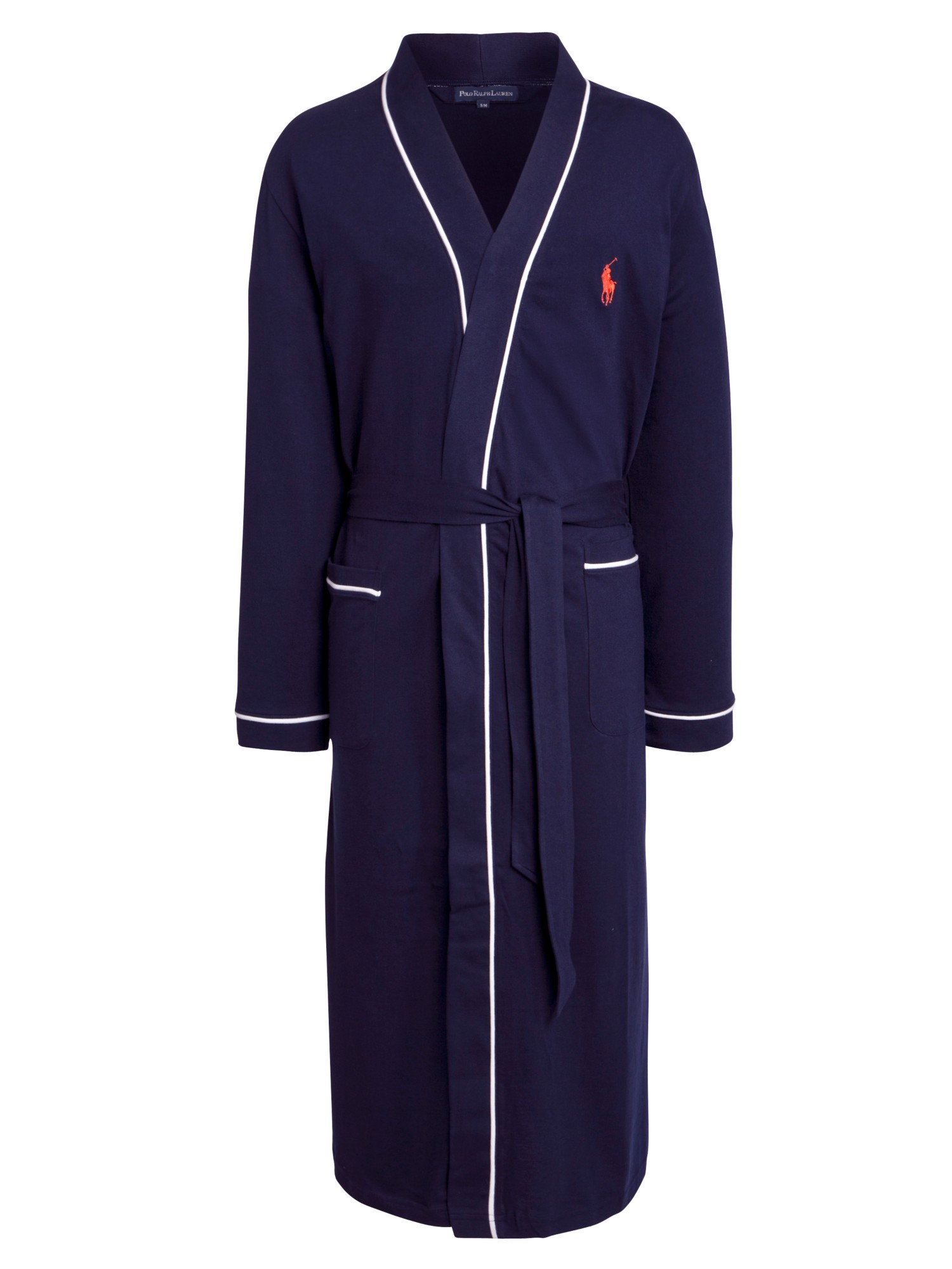 polo ralph lauren cotton jersey piped dressing gown in blue for men. Black Bedroom Furniture Sets. Home Design Ideas