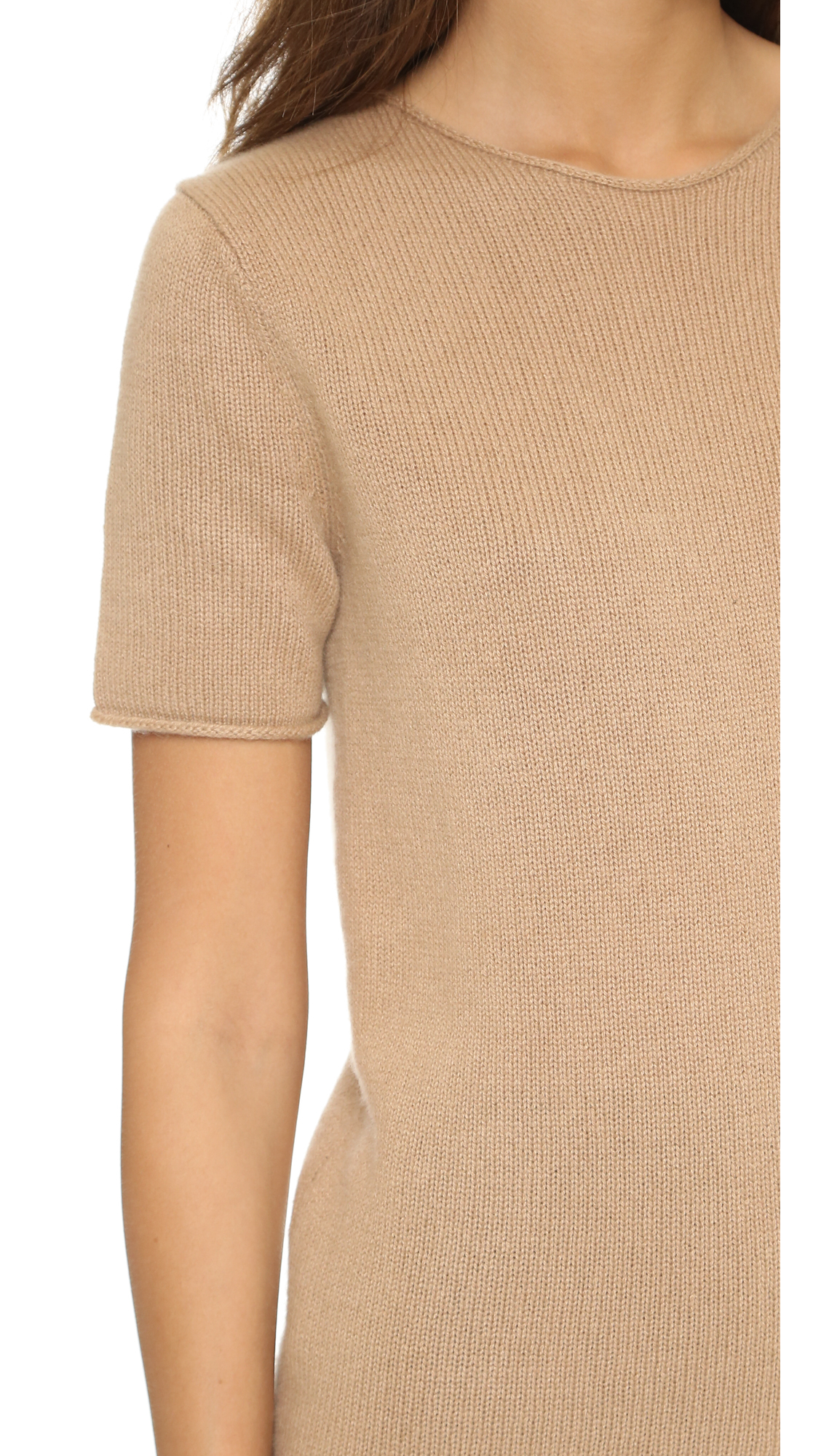 adabcd19973 Theory Cashmere Tolleree Short Sleeve Sweater in Natural - Lyst