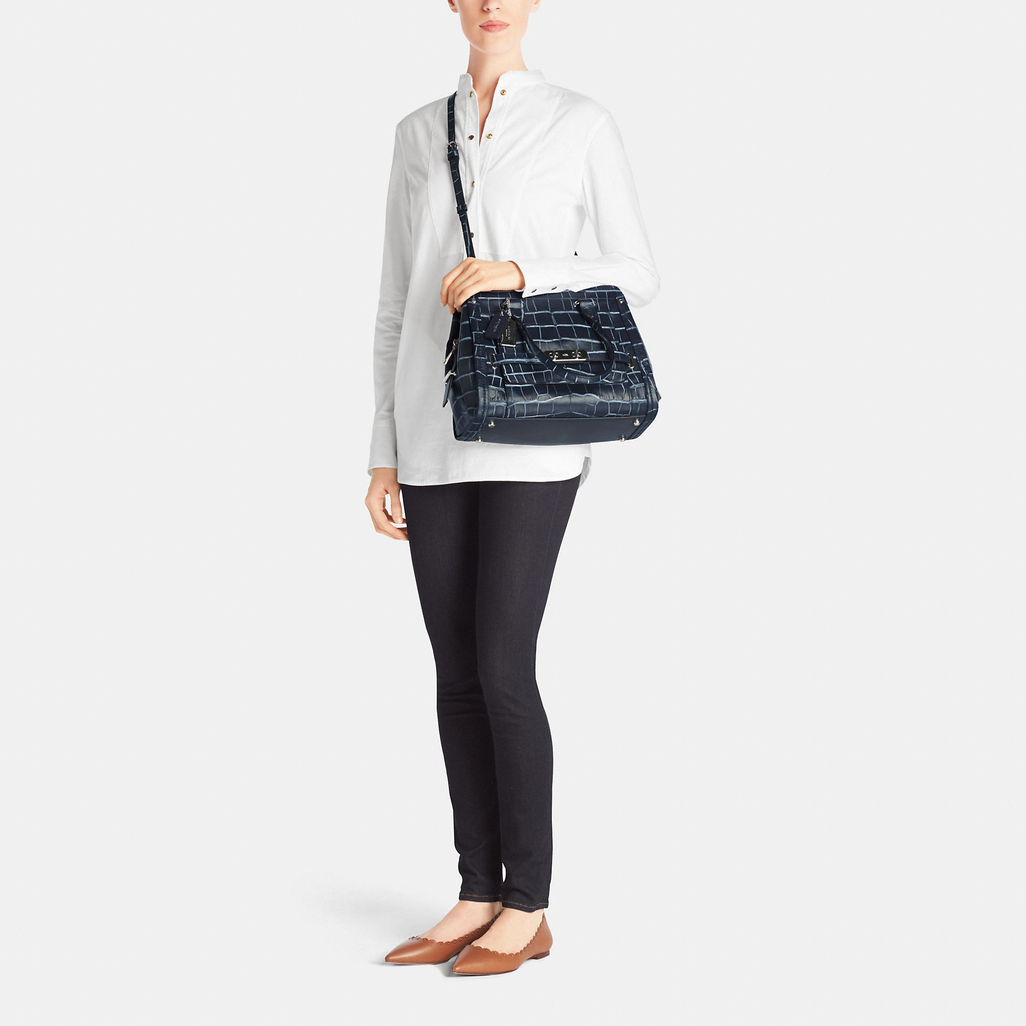 Lyst Coach Swagger Frame Satchel In Denim Croc Embossed