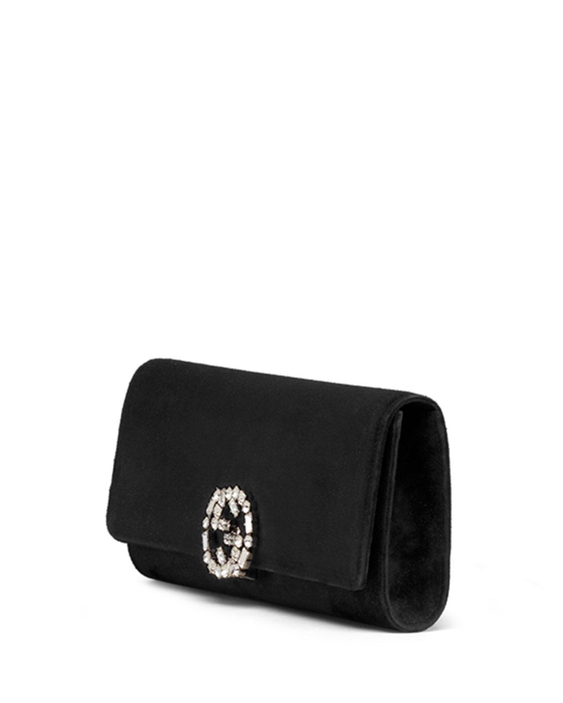 fb52db206efddf Gucci Broadway Suede Gg Buckle Clutch Bag in Black - Lyst