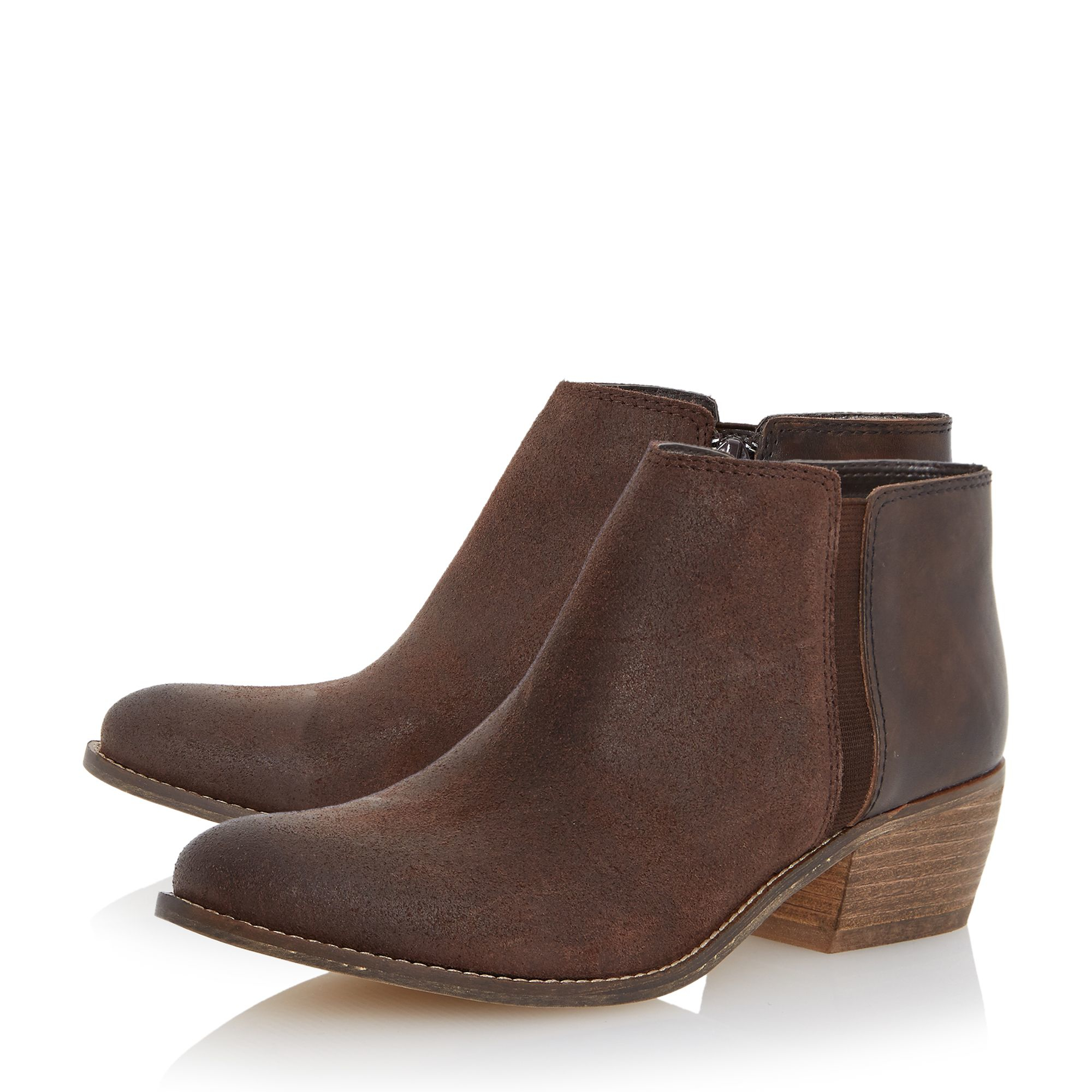 Dune Penelope Low Heel Ankle Boots in Brown | Lyst