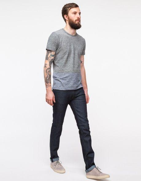 nudie jeans thin finn org dry dark grey in blue for men. Black Bedroom Furniture Sets. Home Design Ideas