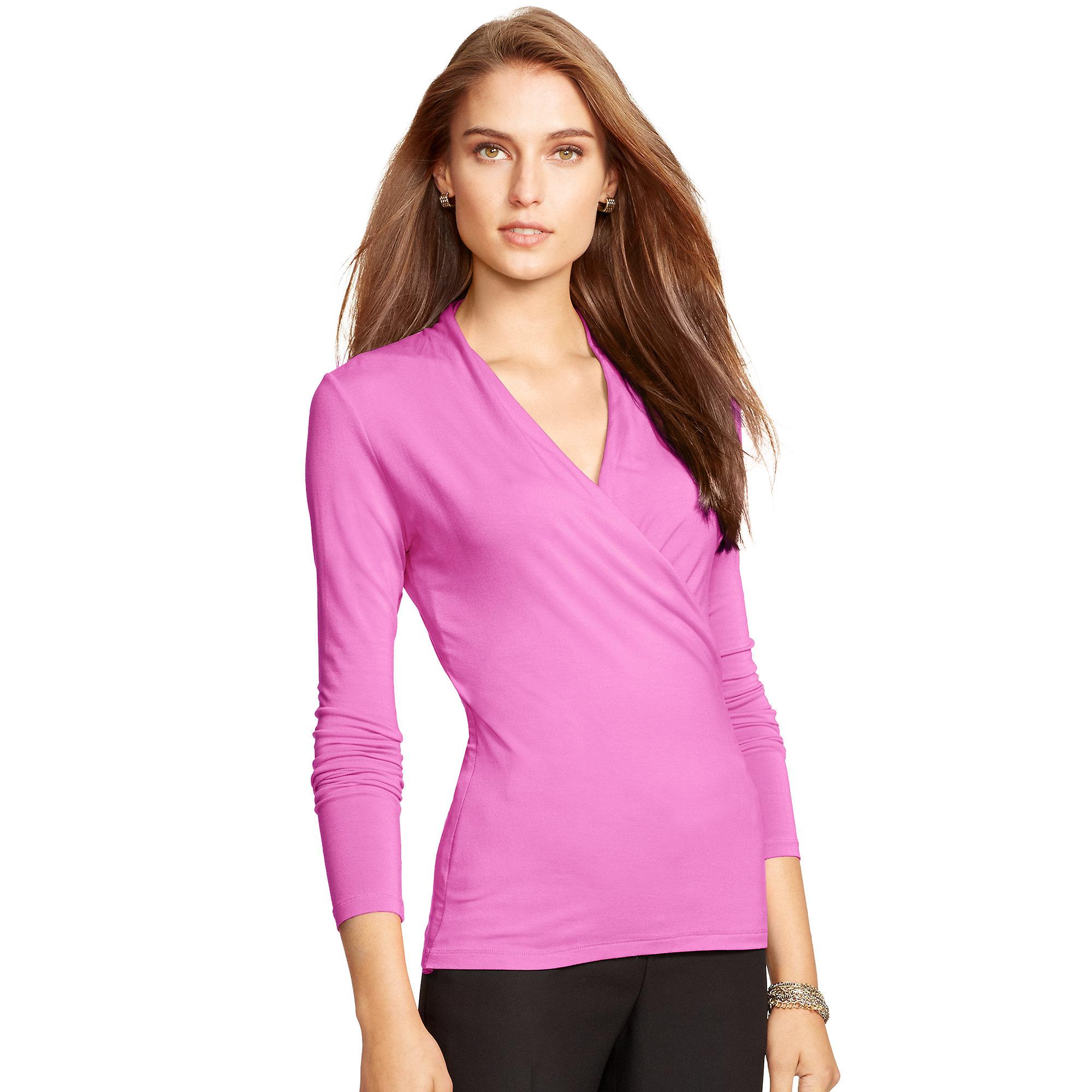 98048ce186ae7e Lyst - Ralph Lauren Jersey Surplice Top in Pink