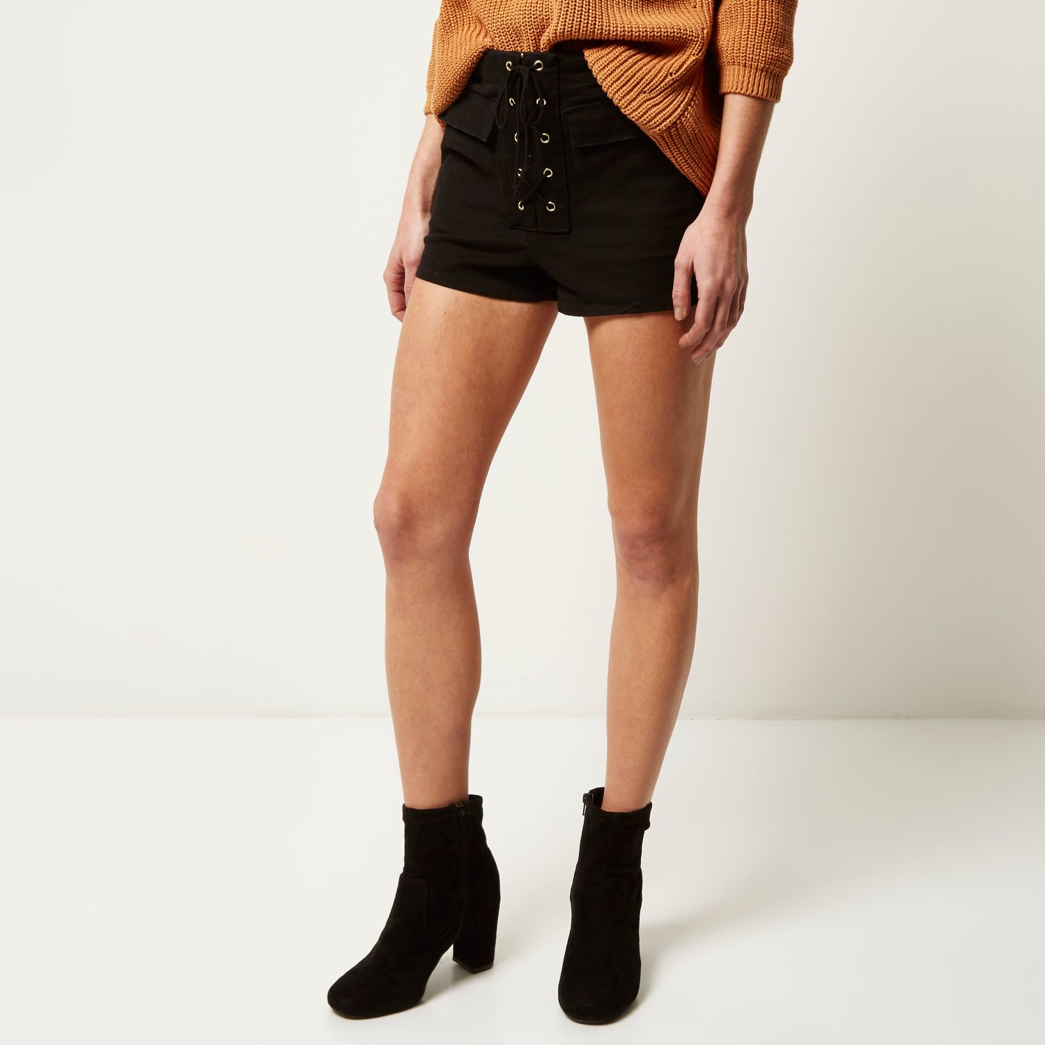 River island Lace-Up High-Waisted Shorts in Natural | Lyst