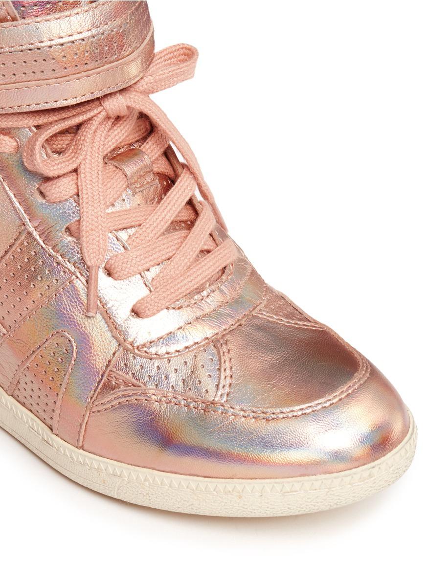 Ash 'beck' Metallic Leather High-top Wedge Sneakers in ...