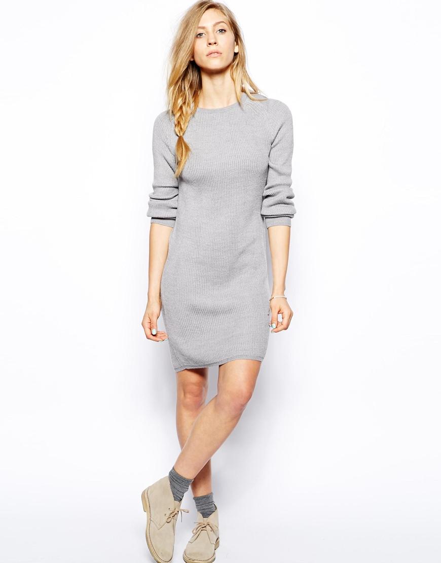 Le Mont St Michel Long Sleeve Sweater Dress In Gray (Grey) | Lyst