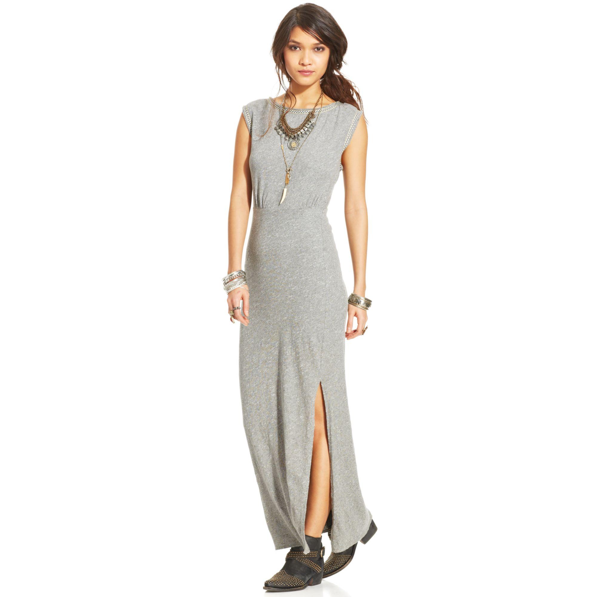 6382b2035066f Lyst - Free People Sabrina Maxi Dress in Gray