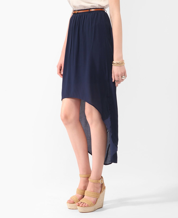 forever 21 belted high low skirt in blue lyst