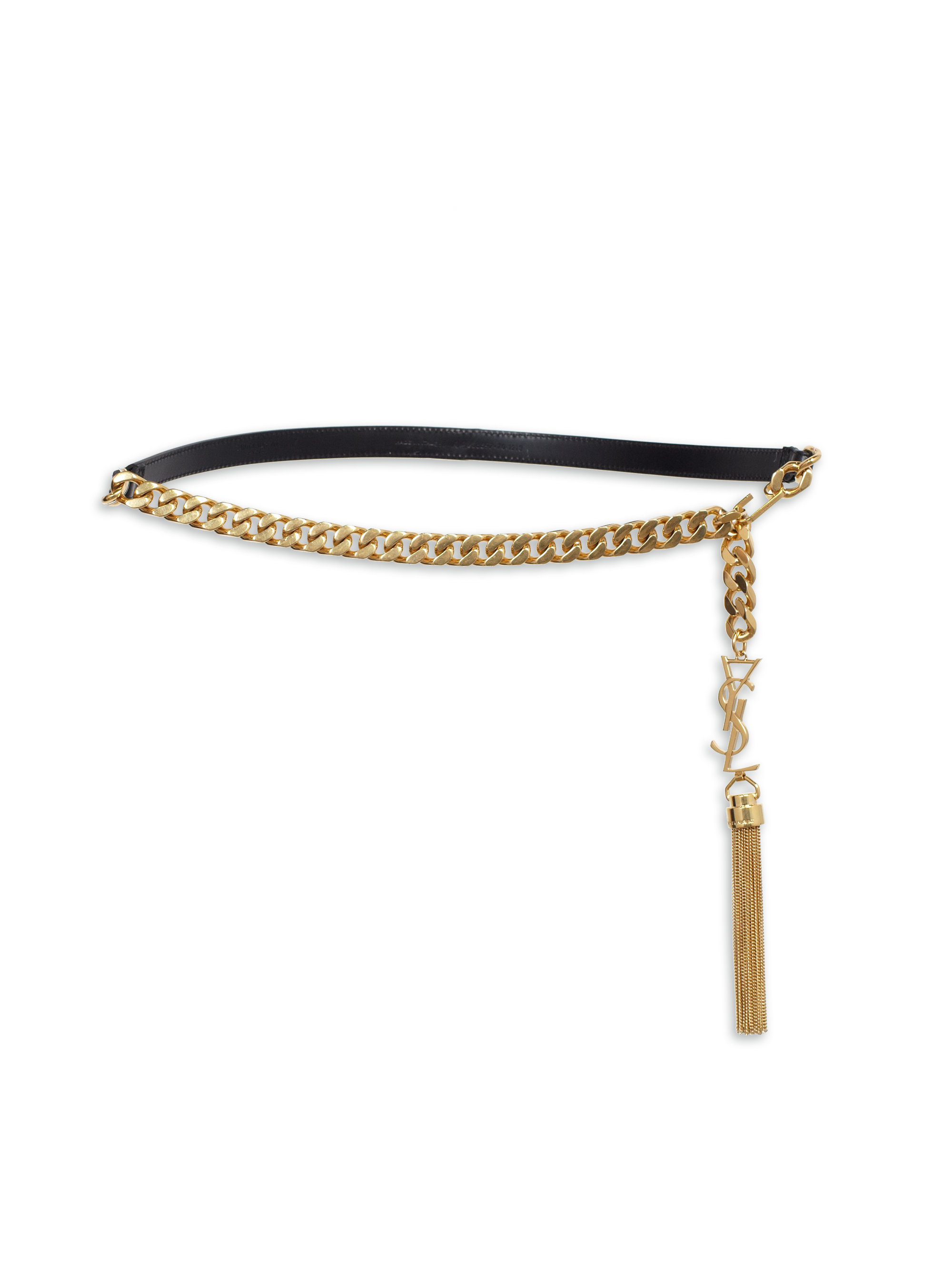 Lyst Saint Laurent Ysl Leather Chain Belt In Metallic