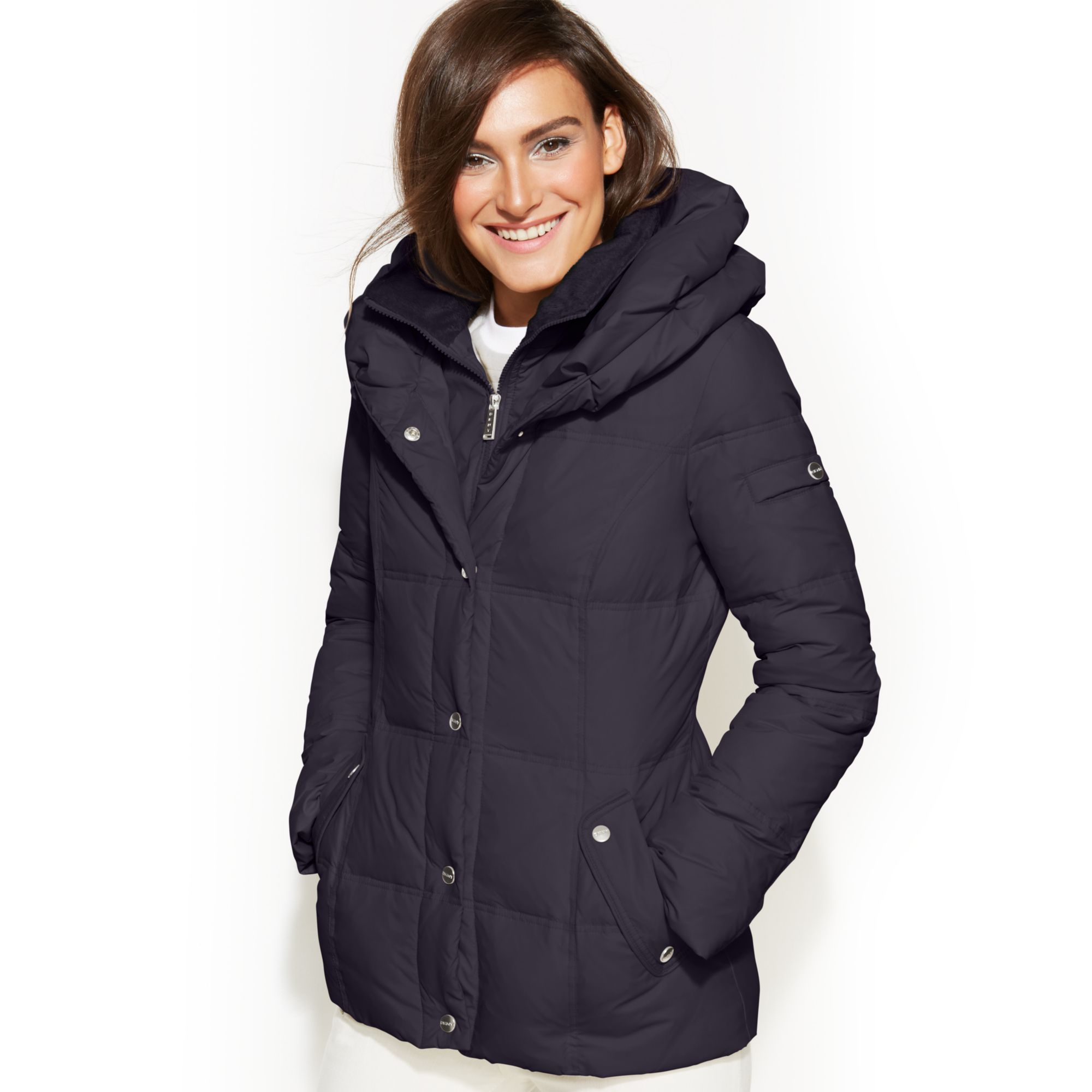 Dkny pillow collar down puffer coat in blue midnight lyst