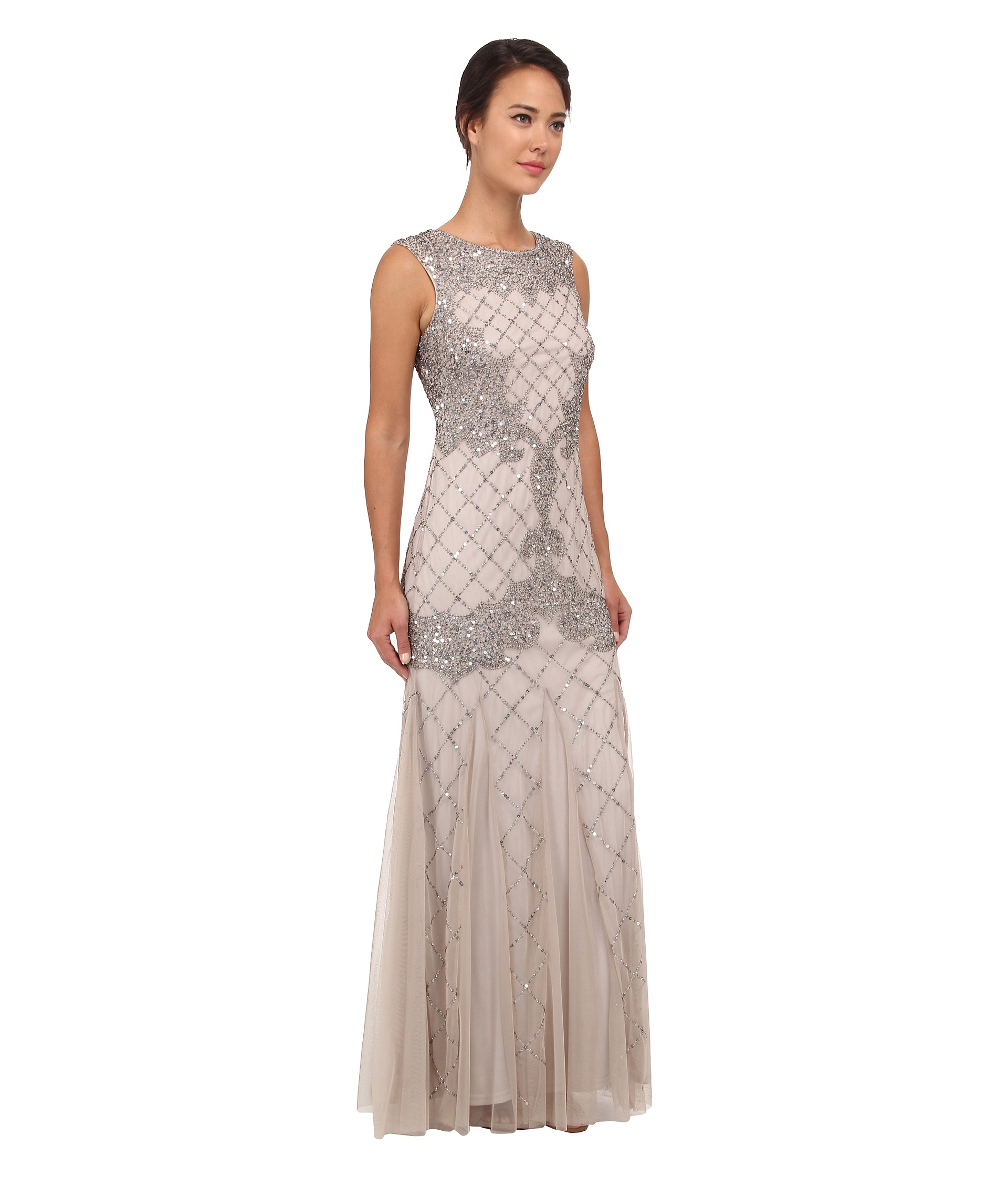 Lyst - Adrianna Papell Sleeveless Fully Beaded Gown in Metallic