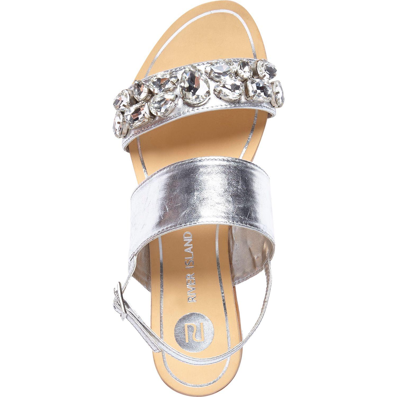 1c3aeb6d1 River Island Silver Gem Stone Embellished Sandals in Metallic - Lyst
