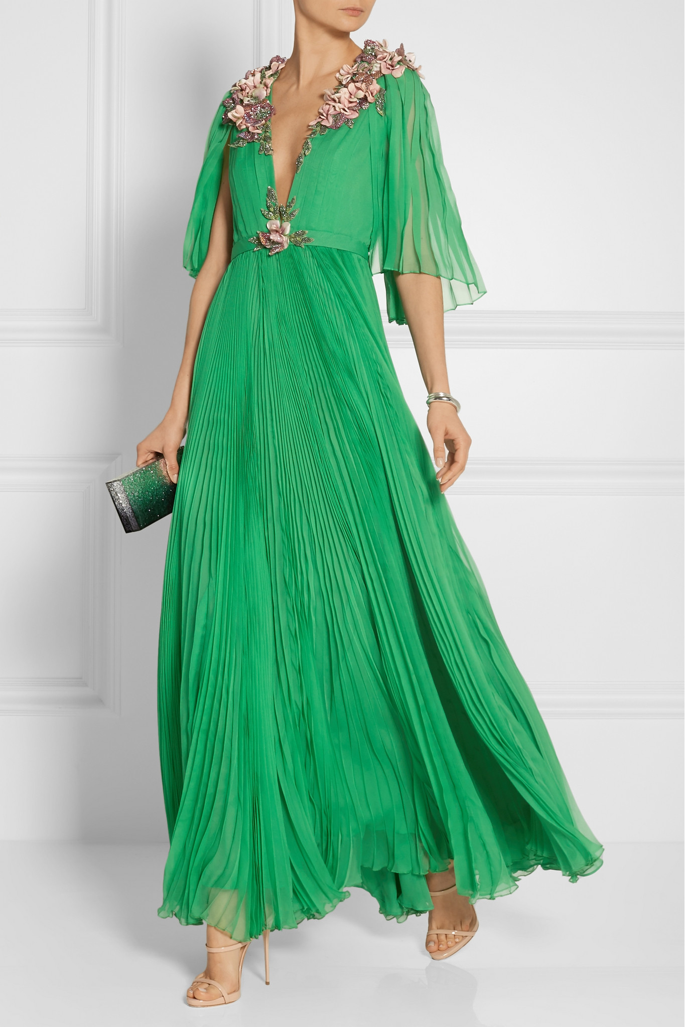 Lyst - Gucci Embellished Plissé Silk-chiffon Gown in Green