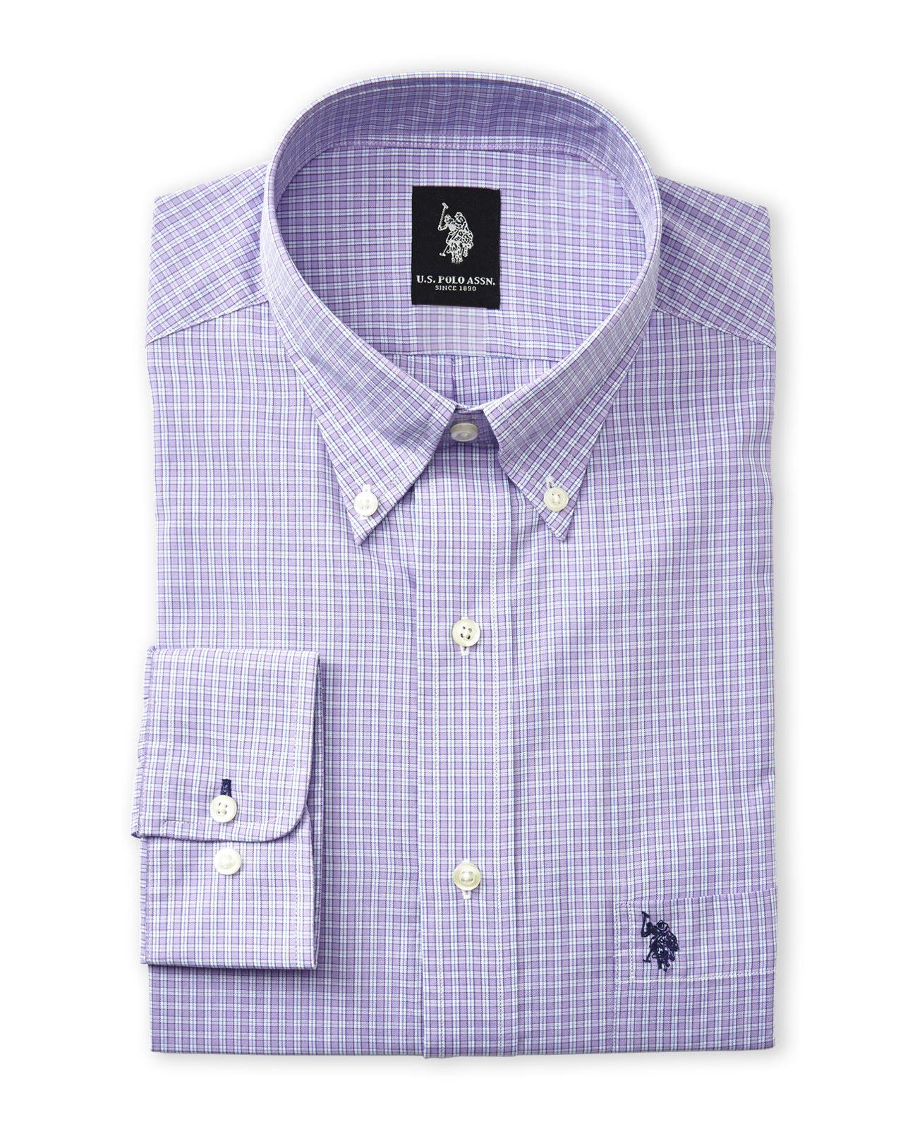 Us polo assn men 39 s long sleeve dress shirt here 39 s what for Purple polo uniform shirts