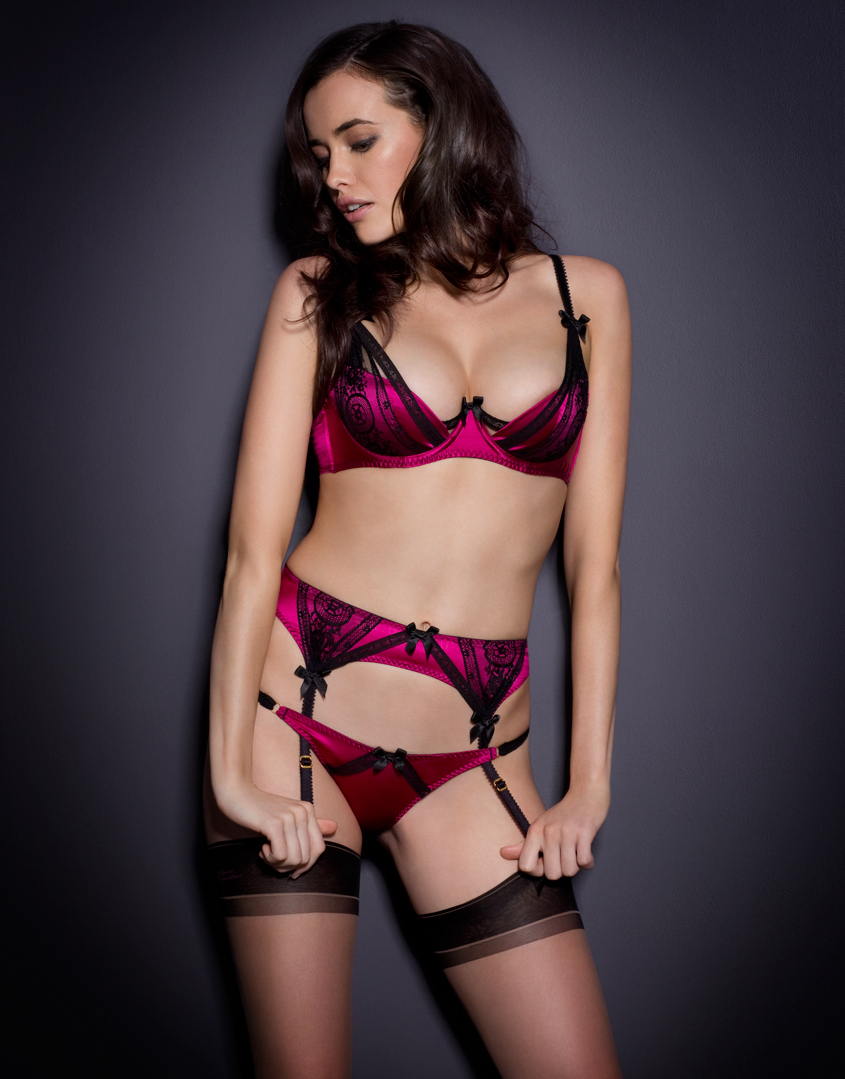 lyst agent provocateur dolley suspender in pink. Black Bedroom Furniture Sets. Home Design Ideas