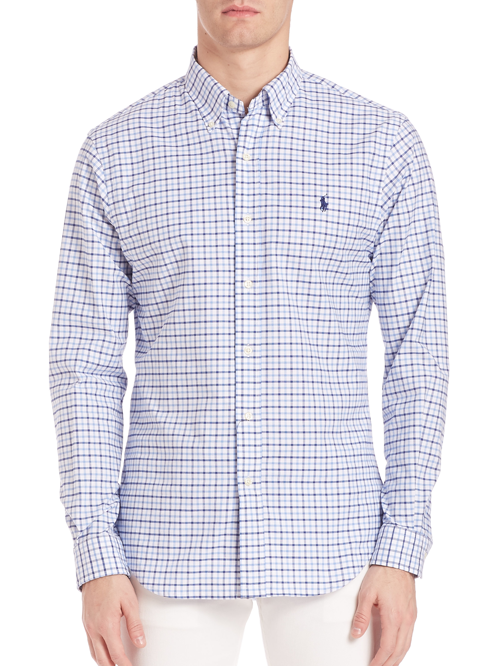 ff5793d4ad0e0 Lyst - Polo Ralph Lauren Slim-fit Stretch Oxford Checked Sportshirt ...