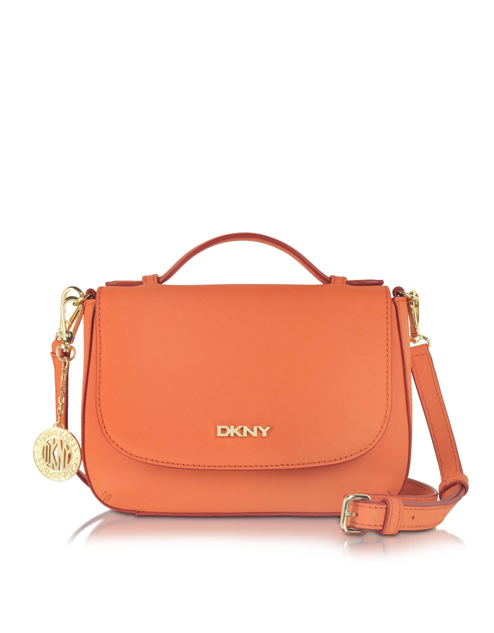 455405f7403 Lyst - DKNY Bryant Park Saffiano Leather Top Handle Crossbody in Orange