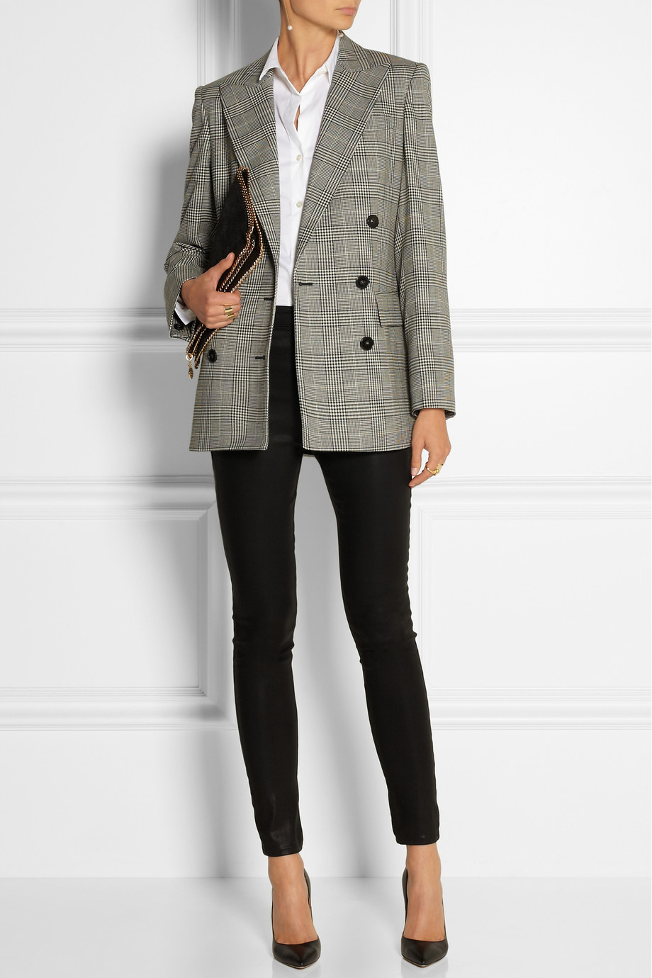 Lyst Stella Mccartney Prince Of Wales Check Stretch Wool