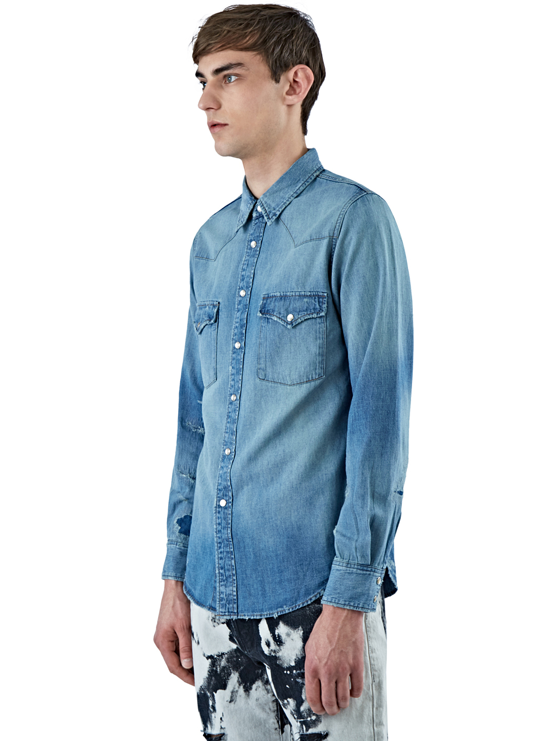 Joe Cotton Ford >> Saint Laurent Men's Oversized Western Denim Shirt In Blue in Blue for Men - Lyst