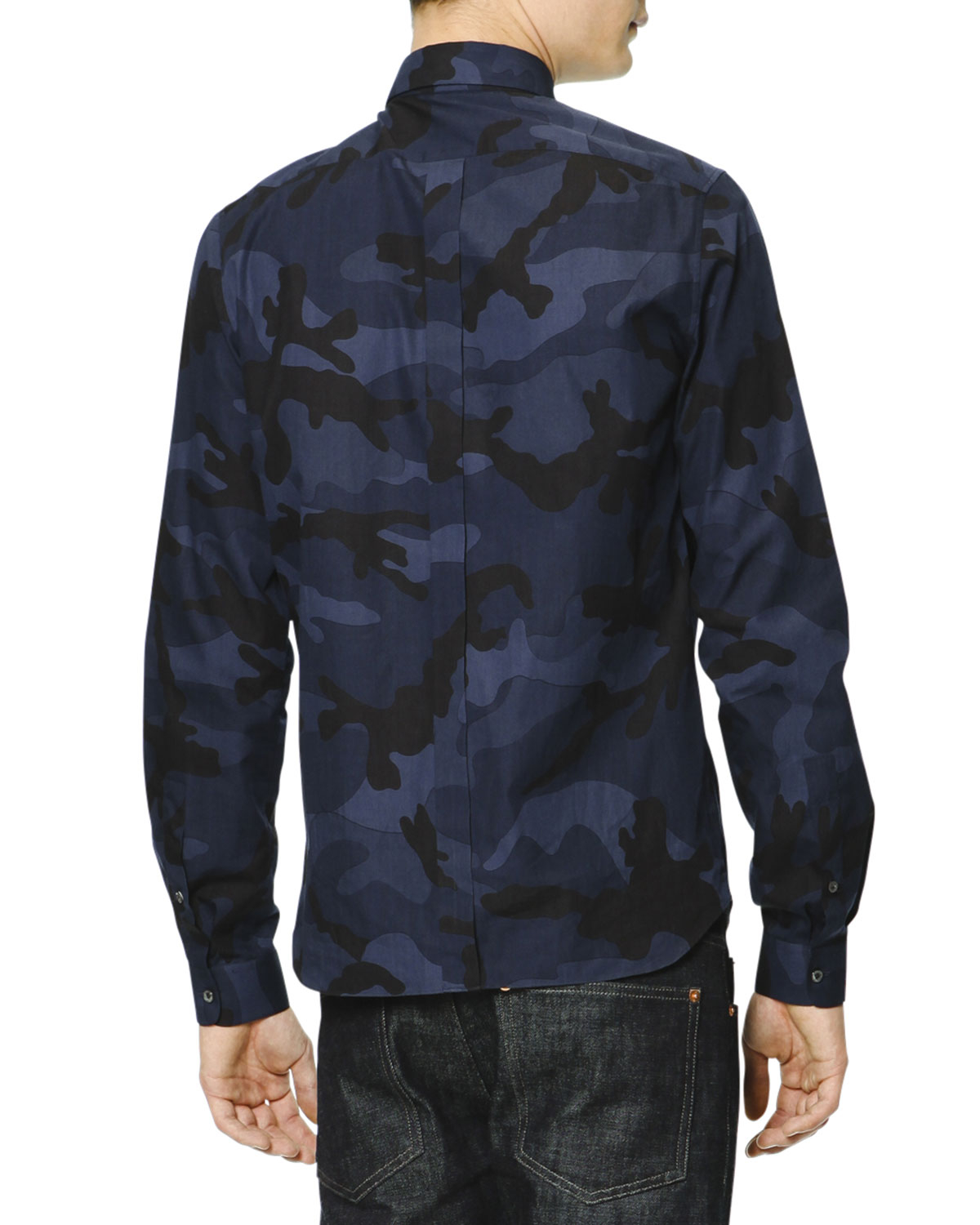 Lyst Valentino Long Sleeve Camo Print Shirt In Blue For Men