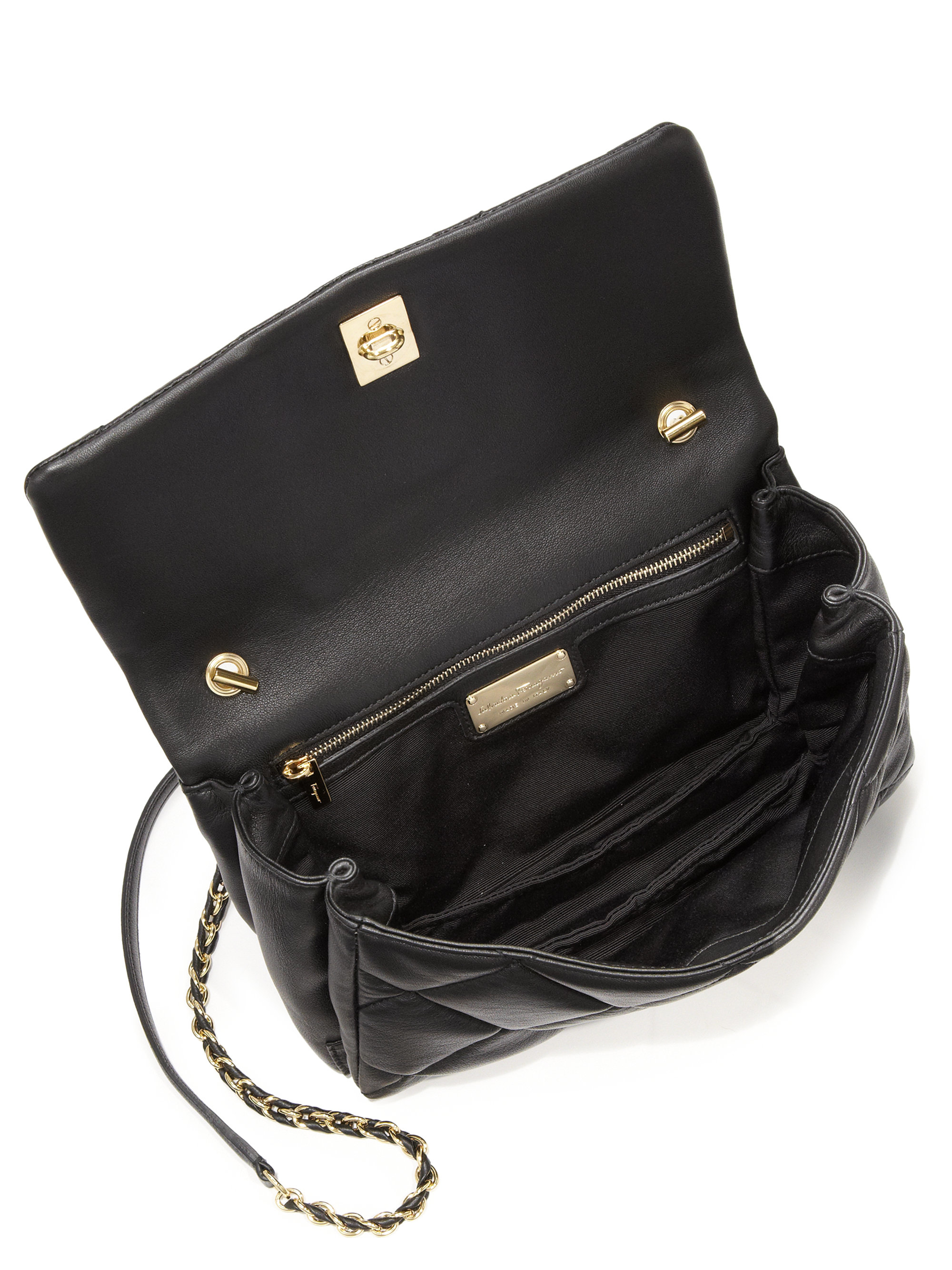 611c57389317 Ferragamo Vara Quilted Leather Flap Bag In Black Lyst