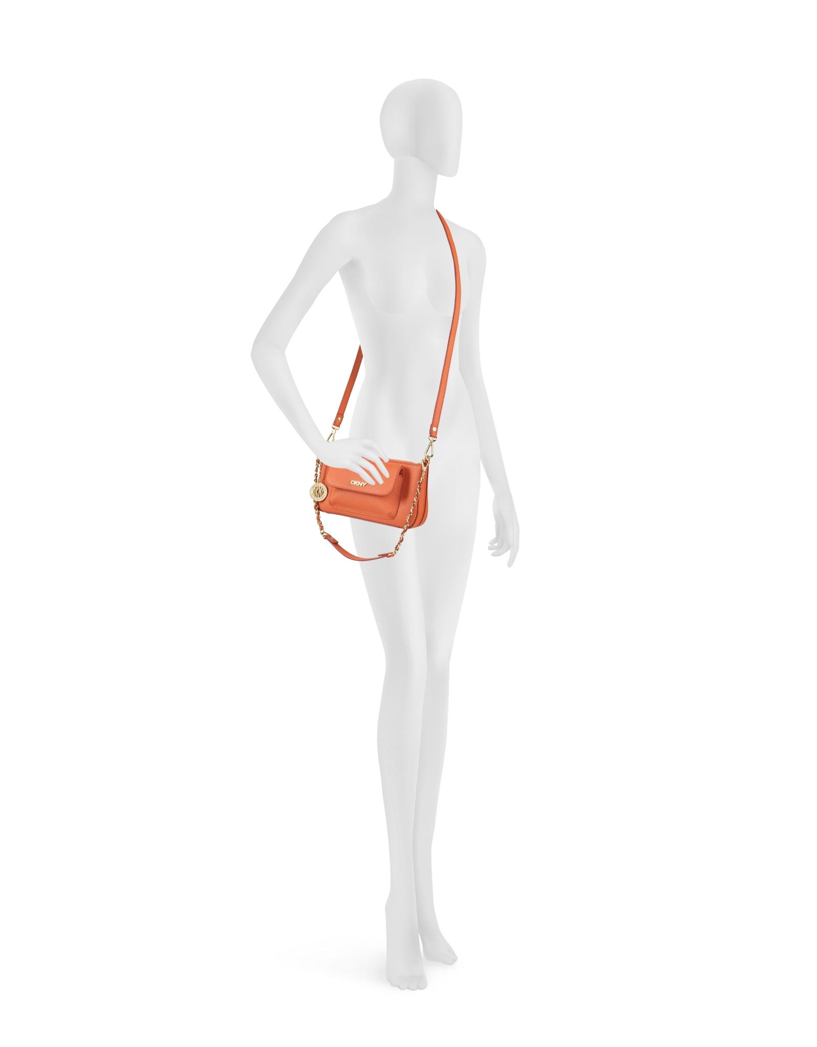 bc2952995fe Lyst - DKNY Bryant Park Saffiano Leather Crossbody Bag in Orange