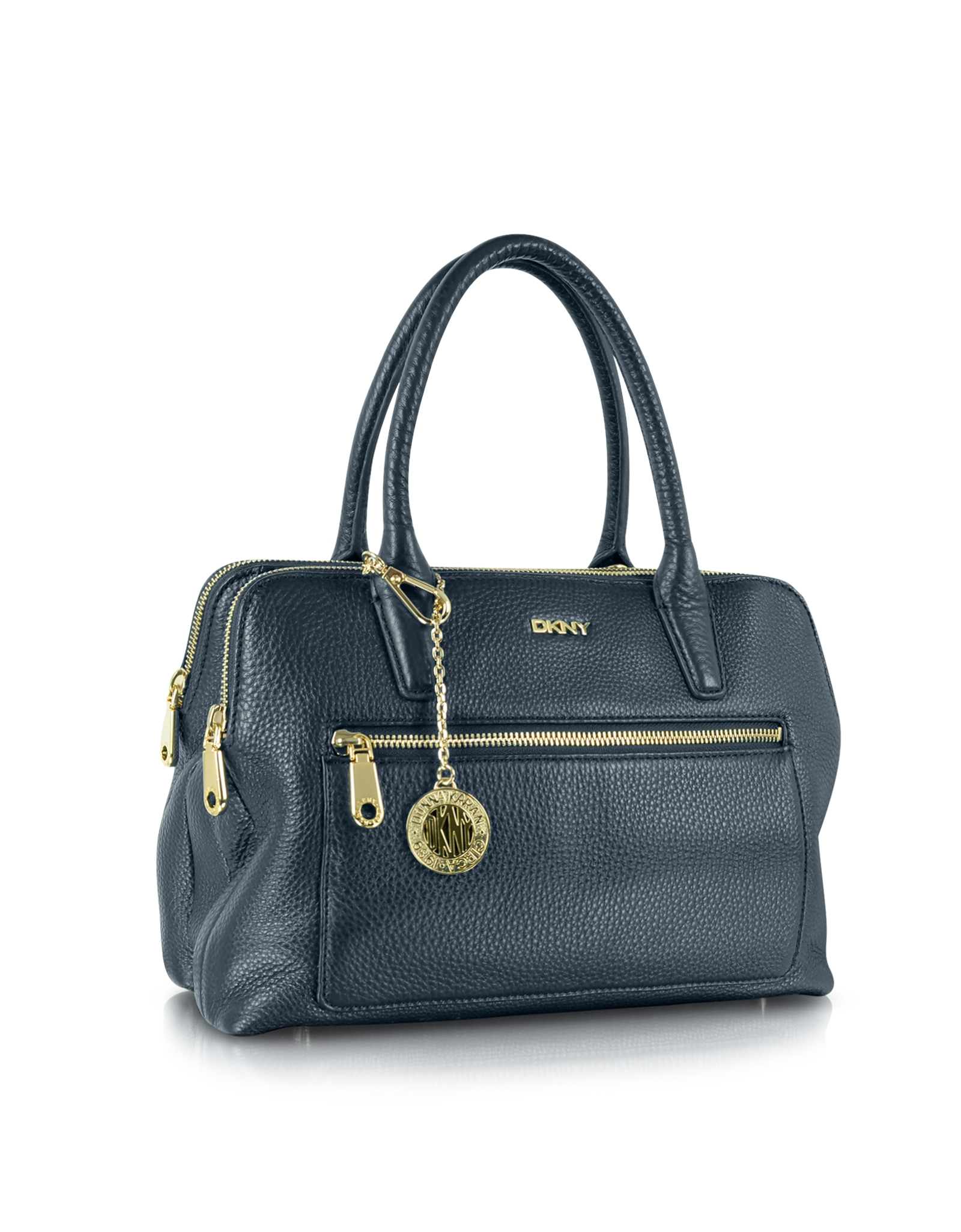 Dkny Tribeca Double Zip Leather Satchel Bag W/Shoulder Strap in ...