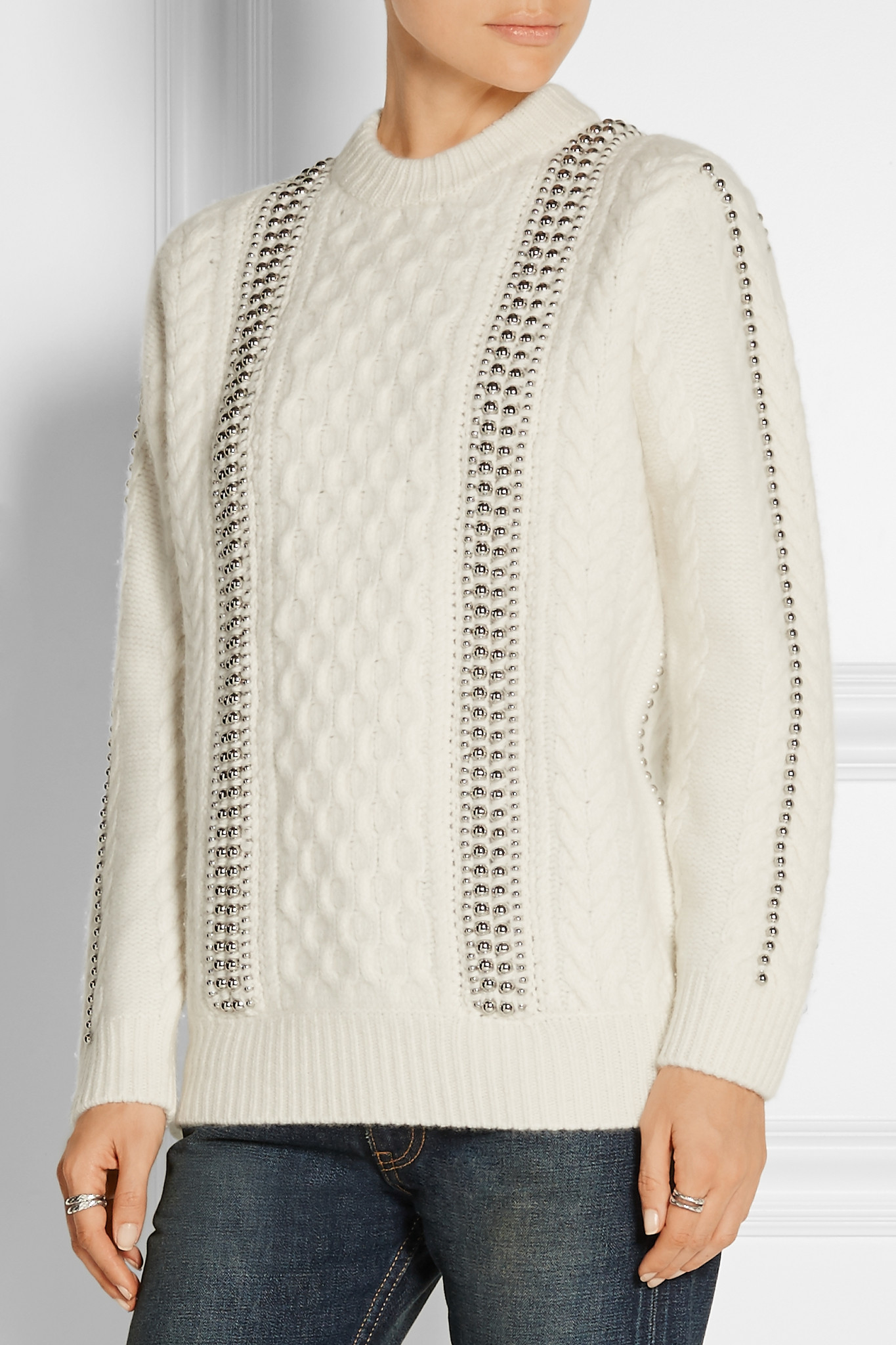 Alexander wang Embellished Cable-knit Wool Sweater in White | Lyst