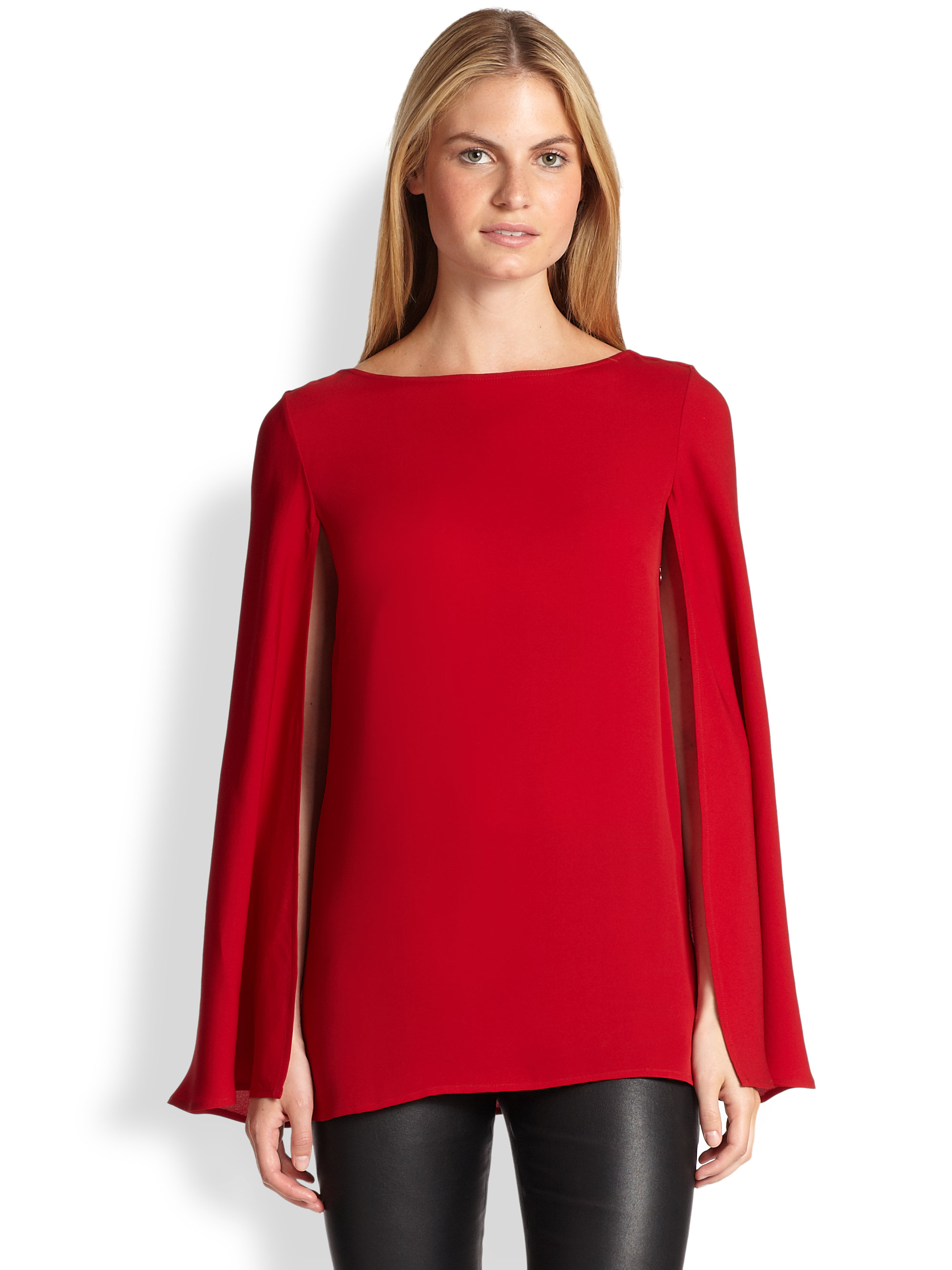 Ralph Lauren Black Label Noelle Silk Cape Blouse In Red Lyst