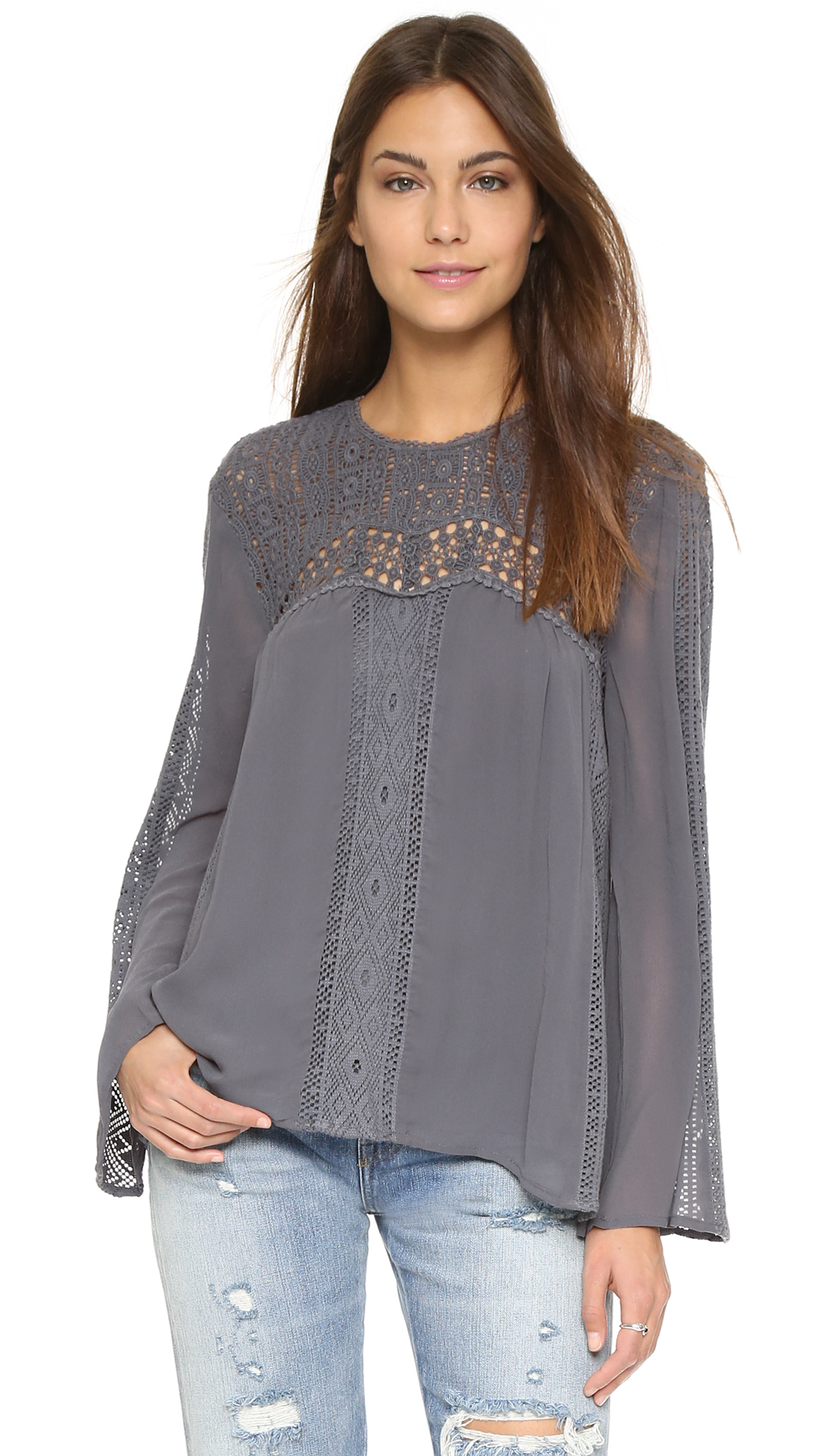 Lyst Love Sam Lace Patchwork Blouse Charcoal In Gray