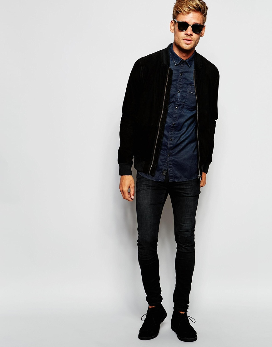 Pepe jeans Pepe Suede Bomber Jacket Claus Slim Fit in Black for ...