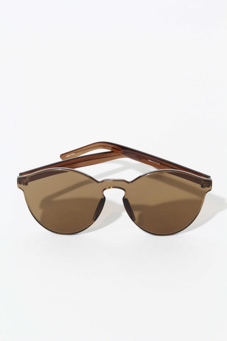 Frameless Circle Glasses : Glassworks Frameless Round Sunglasses in Brown Lyst
