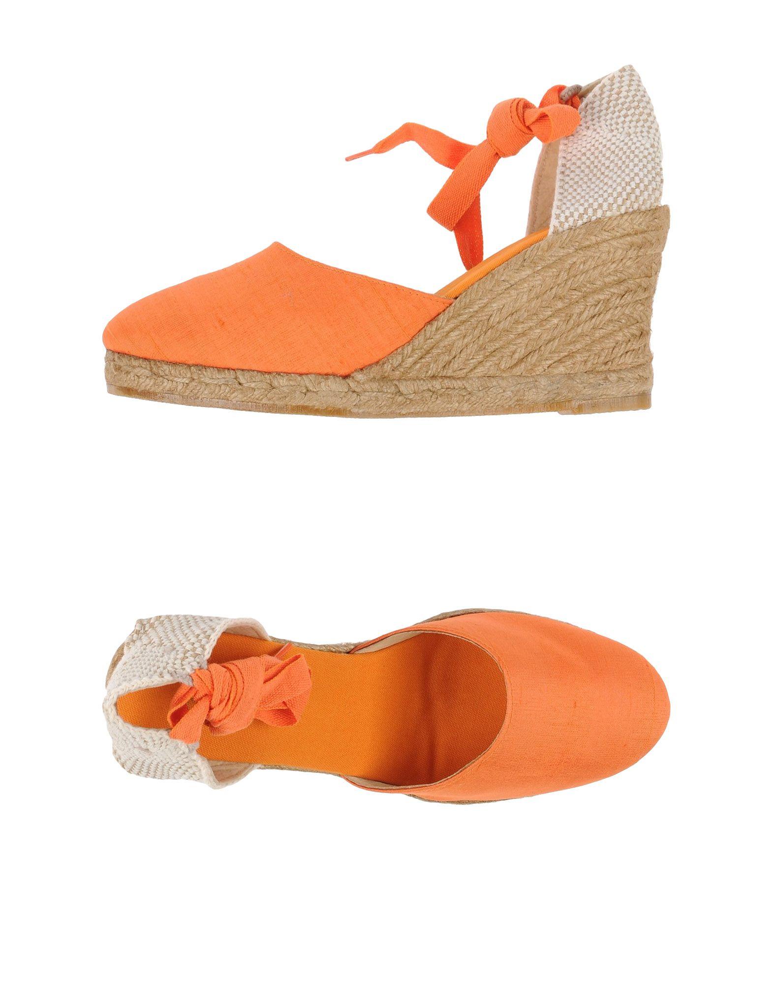 Orange Wedge Heel Shoes