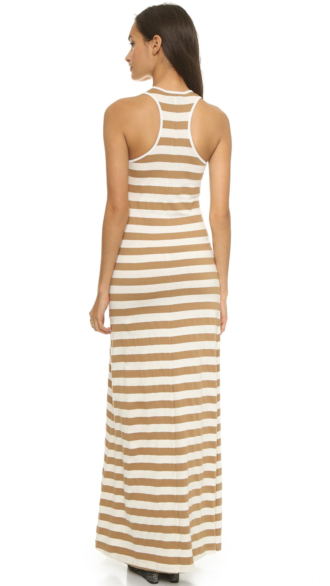 Edith A. Miller Boyfriend Maxi Dress - Tan/Natural Wide Stripe In Brown (Tan/Natural Wide Stripe ...