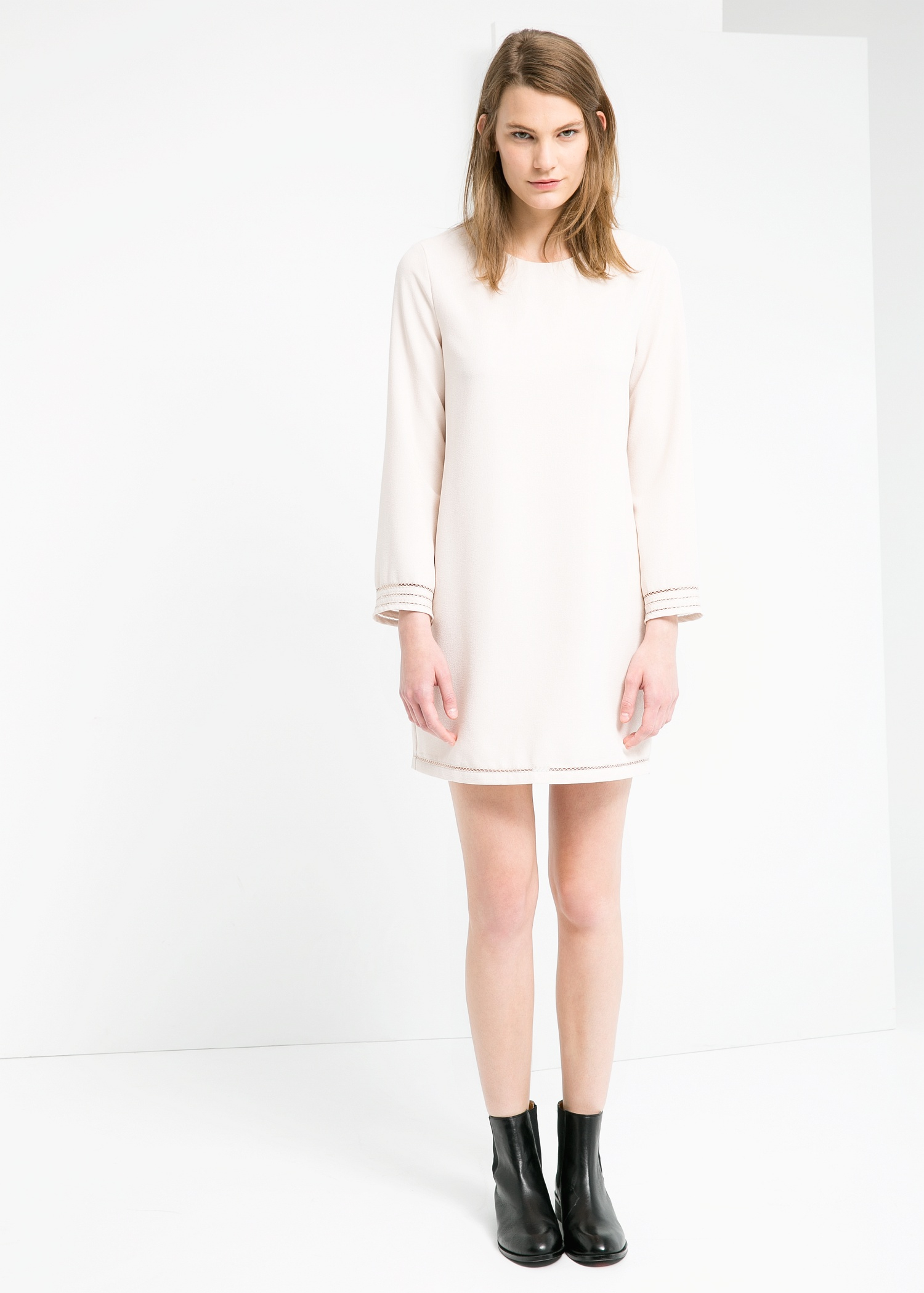 Lyst - Mango Crepe Shift Dress in Natural 2905ee066