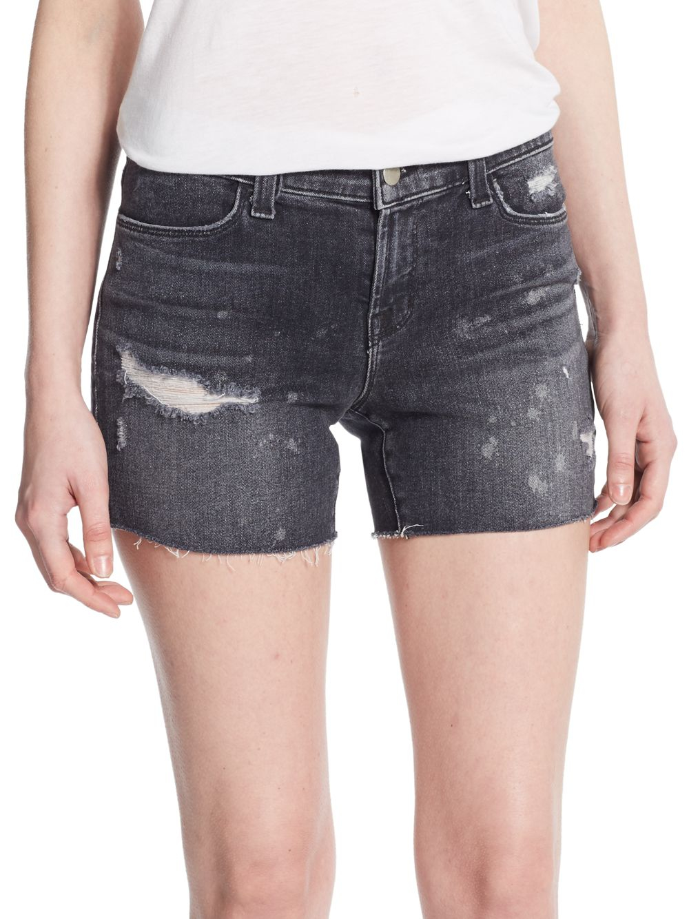 J brand Mia Mid-rise Distressed Denim Shorts in Black | Lyst