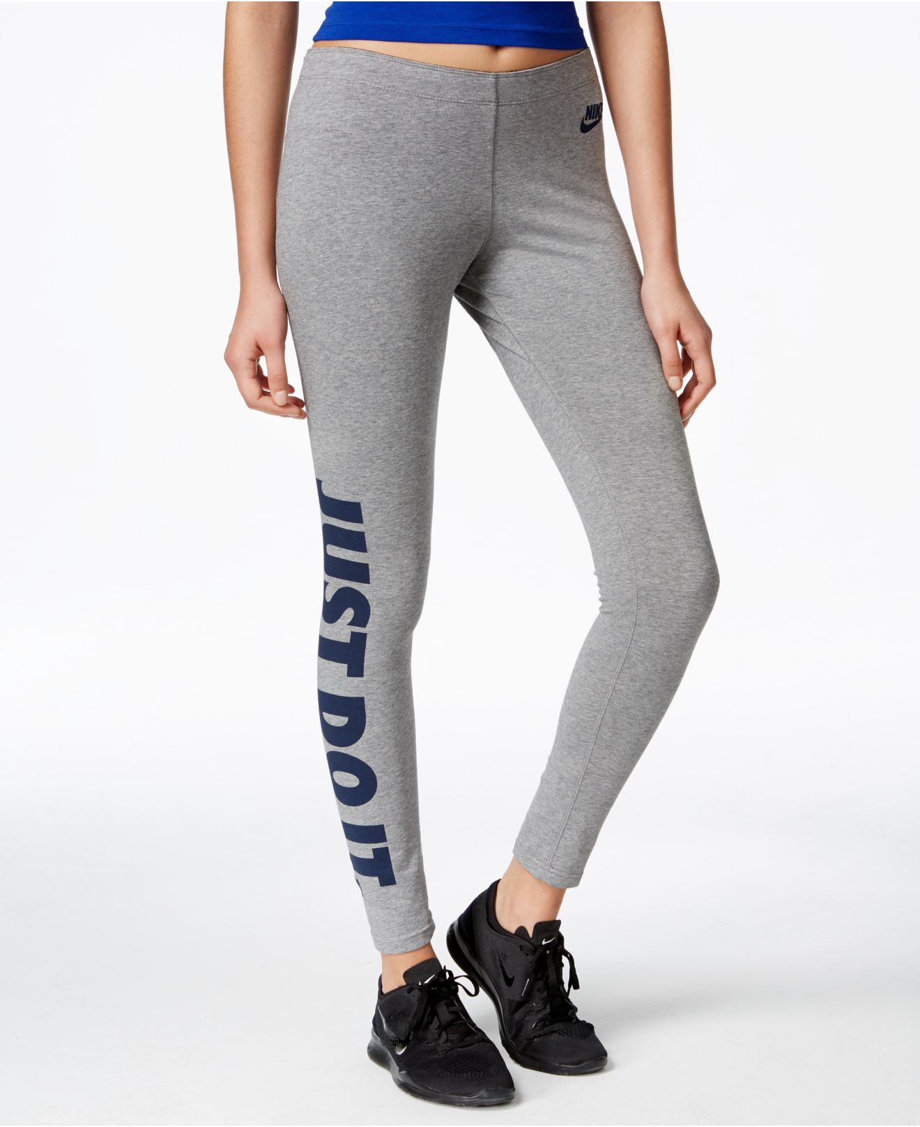 nike just do it dri fit leggings in gray lyst. Black Bedroom Furniture Sets. Home Design Ideas