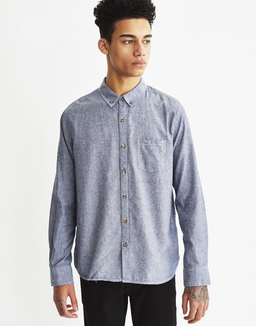The idle man oxford shirt blue in blue for men lyst for Mens blue oxford shirt
