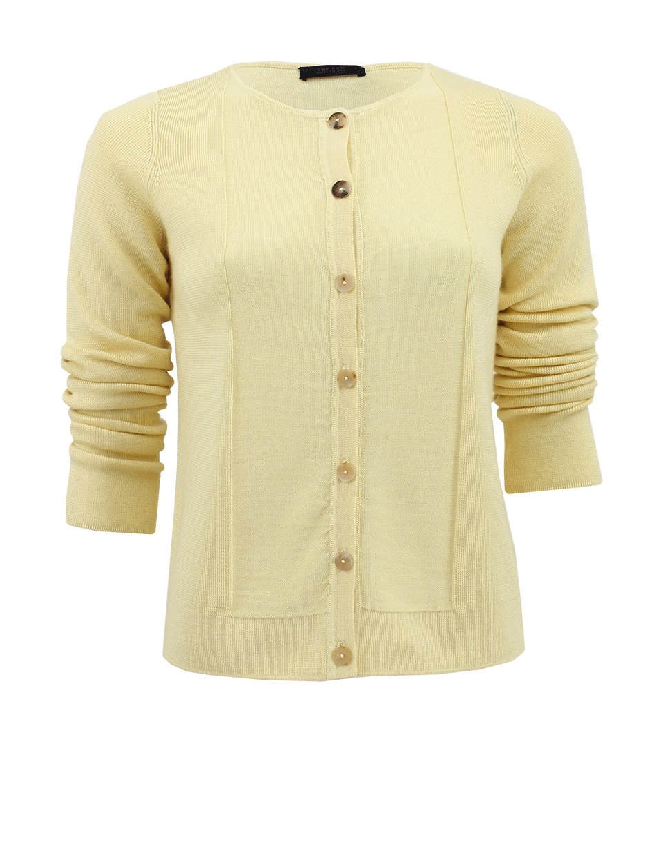 The row Crewneck Button Down Cardigan in Yellow | Lyst
