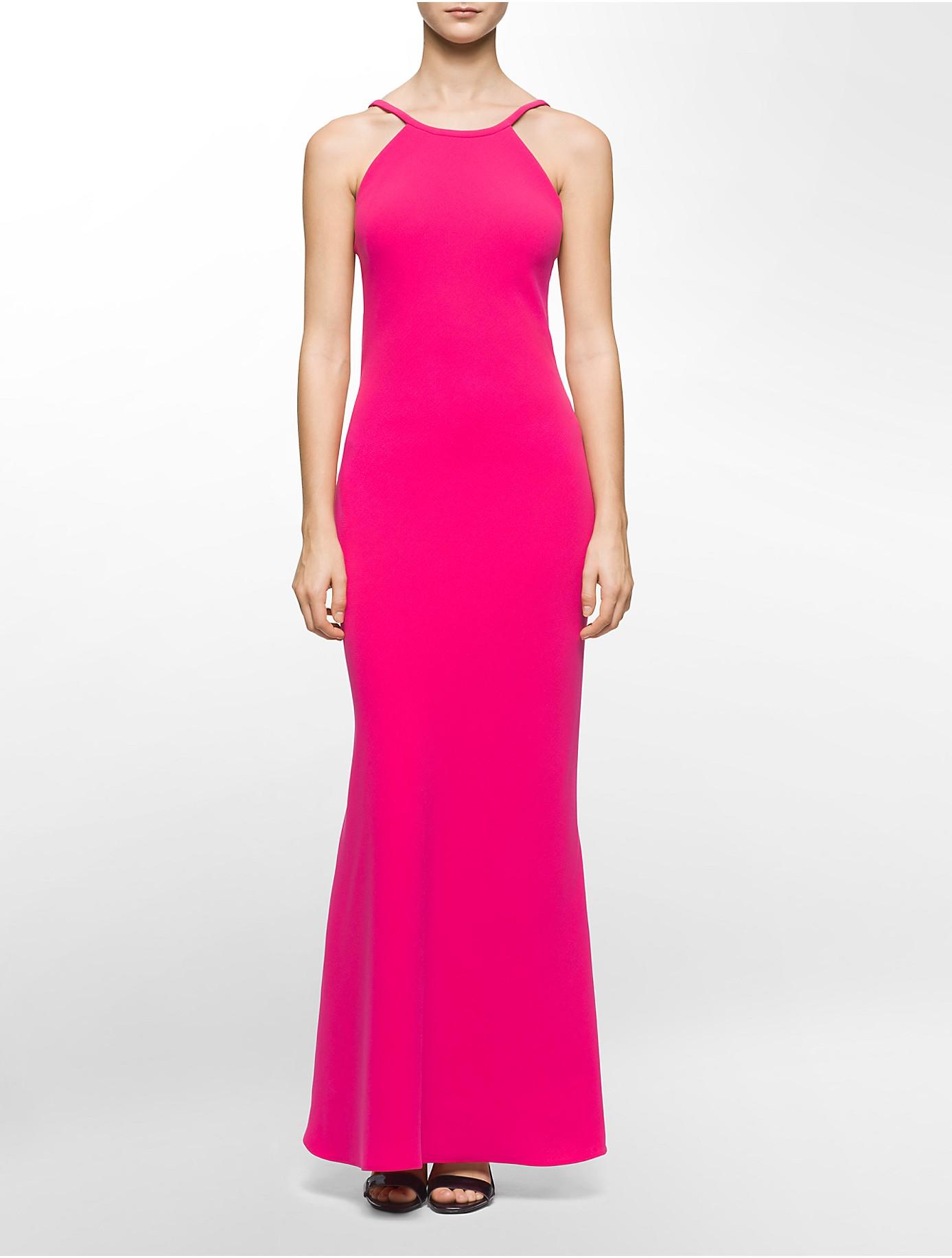 Lyst Calvin Klein White Label Halter Neck Low Back Gown In Pink