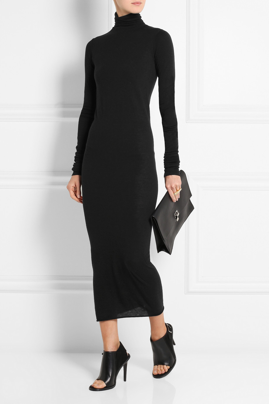 Rick Owens Lilies Turtleneck Jersey Midi Dress In Black Lyst
