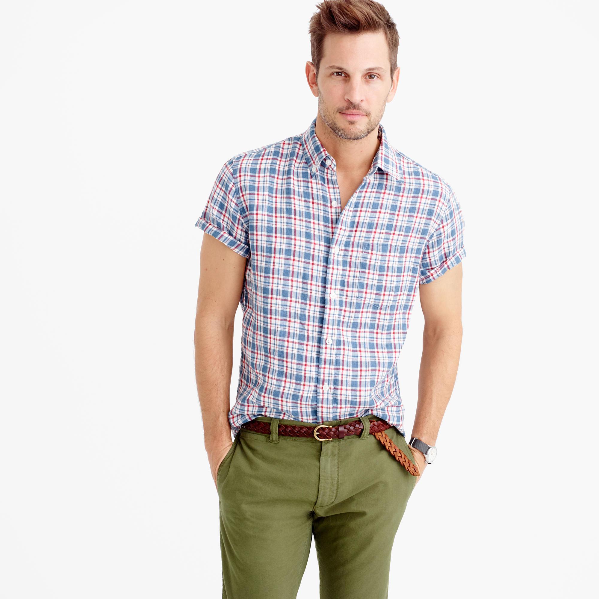 Short sleeve d lav irish linen shirt in morton for Irish linen dress shirts