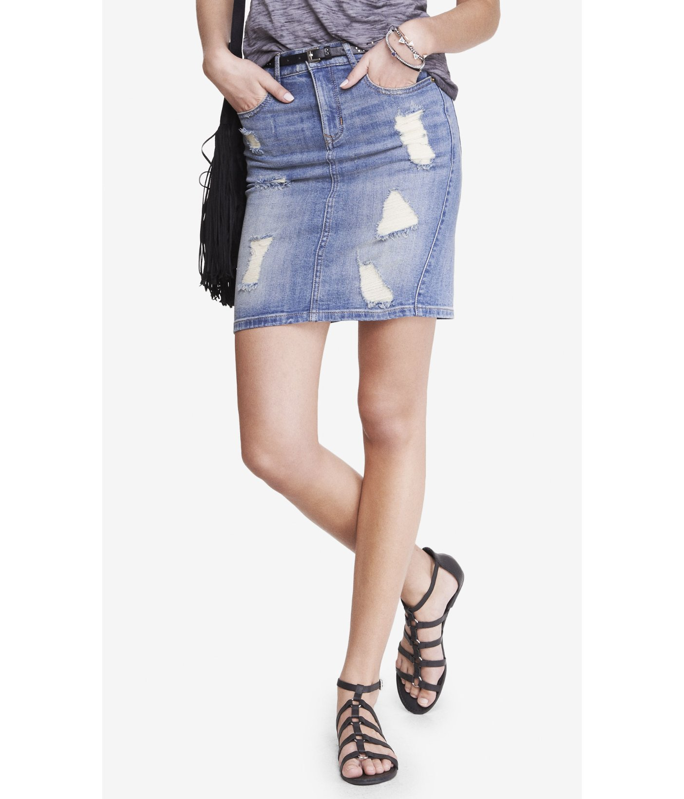 high waisted denim pencil skirt lyst express distressed high waist denim pencil skirt in 540
