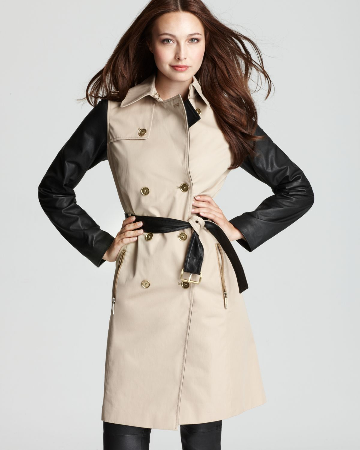 Michael Kors Leather Sleeve Trench Coat In Black Lyst