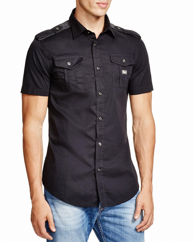 Diesel Poplin Stretch Slim Fit Button Down Shirt in Black for Men ...