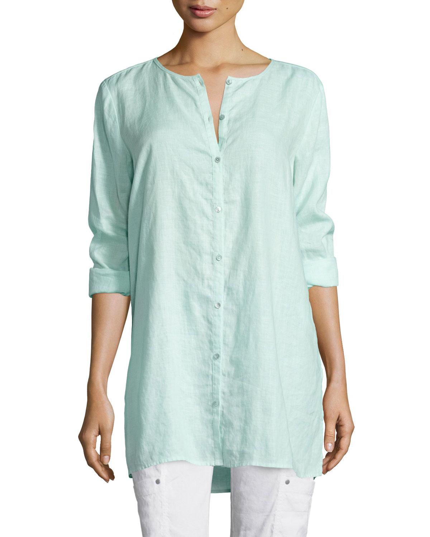 Eileen fisher organic linen long shirt in blue bluebell for Long linen shirts for womens