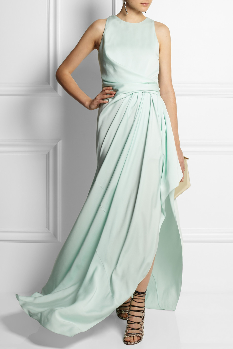 Lyst - Vionnet Gathered Stretchsilk Gown in Green