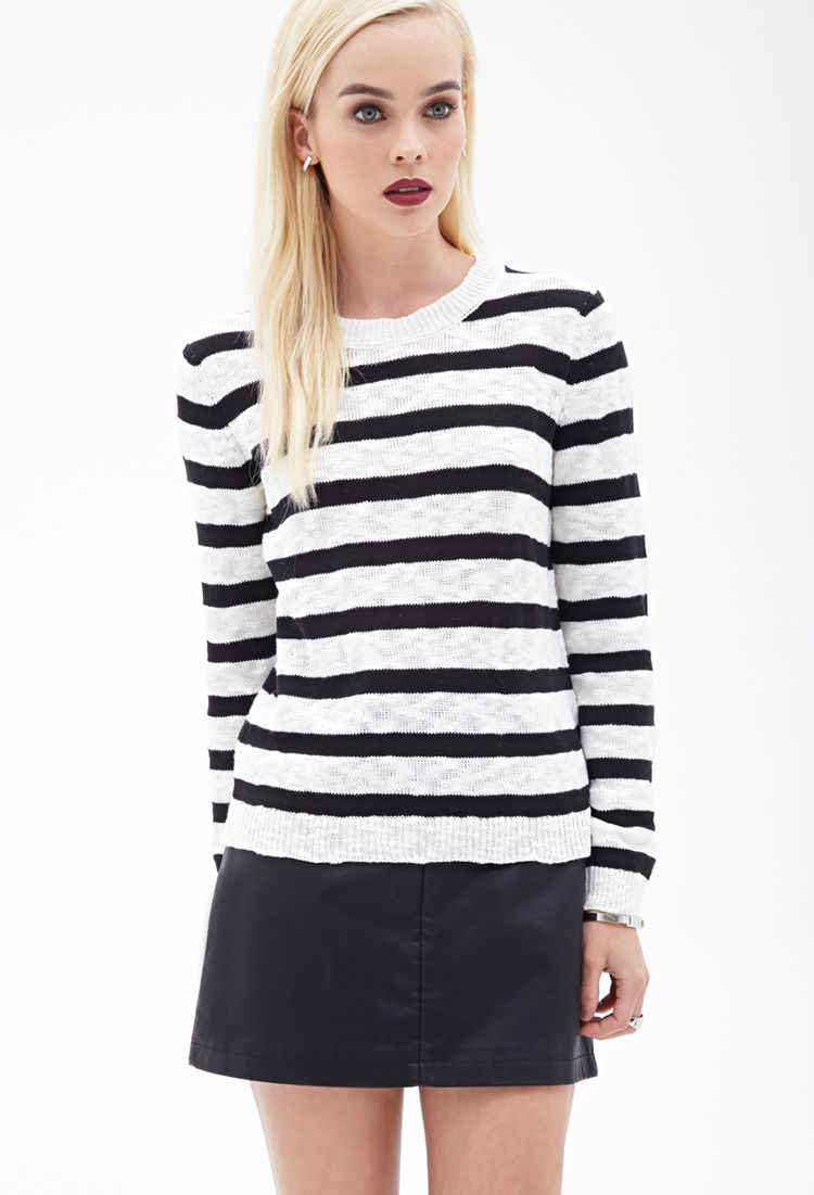 91db05bc65f Forever 21 Striped Knit Sweater in Black - Lyst