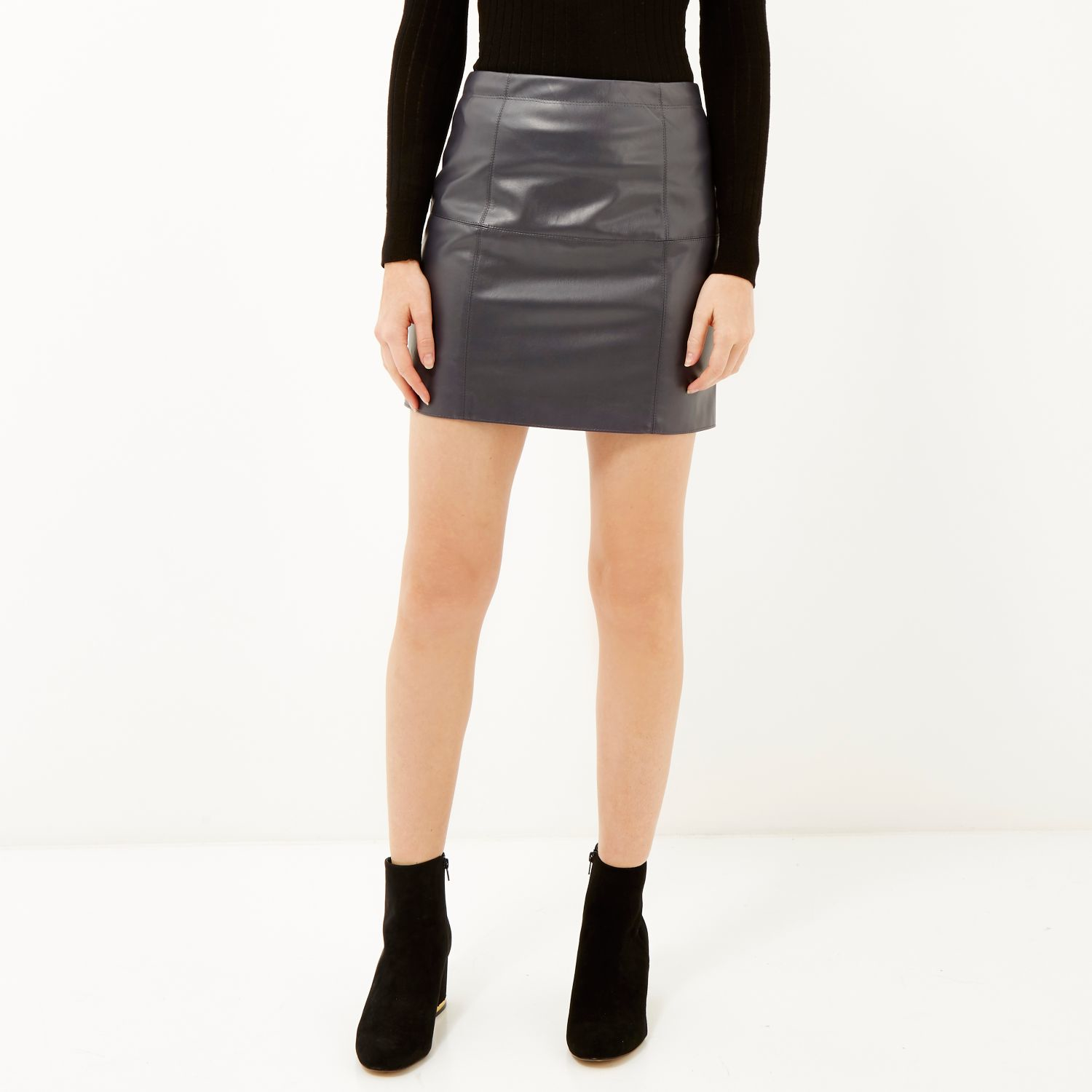 River island Dark Grey Leather-look Mini Skirt in Black | Lyst