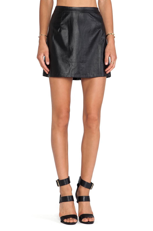 blq basiq blq basics faux leather mini skirt in black lyst